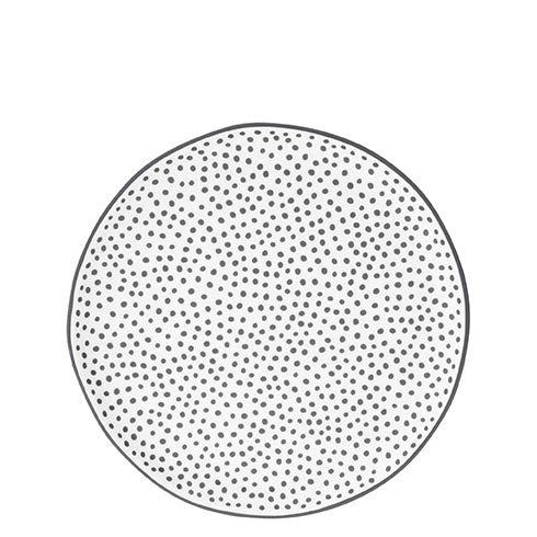 Bastion Collections Kuchenteller, Dessertteller DOTS Punkte D. 19cm weiß schwarz