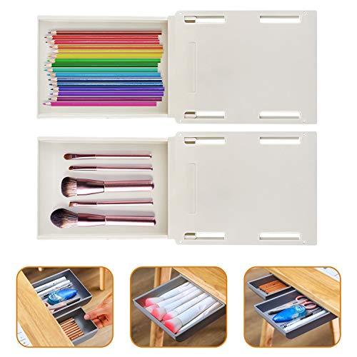 Wisvis Weiße Selbstklebende Schubladen-Organizer-Tabletts Tablett Schreibtisch Tisch-Schubladen-Organizer-Box unter Der Schreibtisch-Schubladen-Aufbewahrungsbox für Make-Up-Werkzeuge