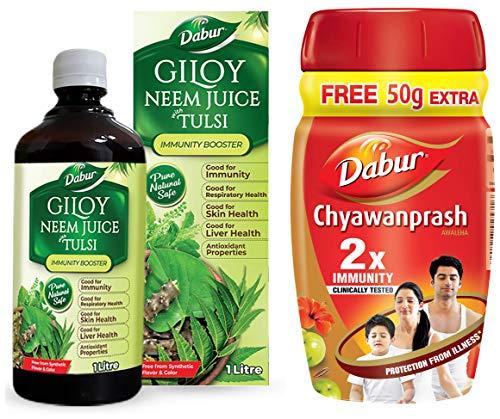 Dabur Chyawanprash 2X Immunity - 500g (Get 75 g Free) & Dabur Giloy Neem Juice with Tulsi: 100% Ayurvedic Health Juice -1L
