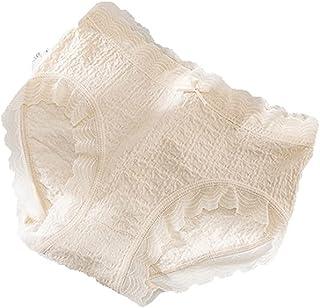 Wanmxinein نمط الصيف النحيف، (مقاس واحد) 1 قطعة 100% قطن تنفس منتصف الخصر غير الملحومة الدانتيل الملابس الداخلية للنساء (ا...