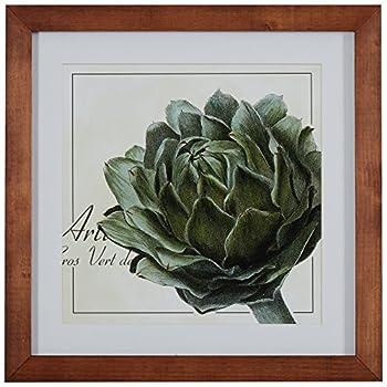 Amazon Brand – Stone & Beam Modern Botanical Print Wall Art of Green Artichoke Brown Frame 14.5  x 14.5