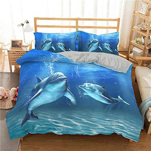 BHFDCR Juego de Ropa de Cama de 3 Piezas Impresa en 3D Delfín Animal Azul Funda Nórdica de Microfibra Suave con Cremallera200x200cm 1 Funda de Edredón + 2 Fundas de Almohadas