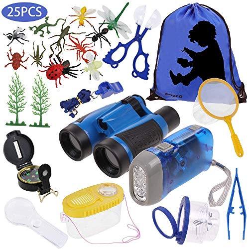 Anpro 25 en 1 Juguetes para Exploraciones de Naturaleza Aventurera para Niños, Aventuras al Aire Libre para Niños, Binoculares, Silbato, Lupa, Brújula, Regalo para Niños (Azul)