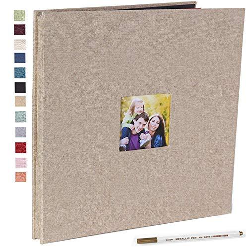 Vienrose Photo Album Self Adhesive 3x5 4x6 5x7 8.5x11 Magnetic Scrapbook Album DIY Length 11 x Width 10.8 (Inches) with A Metallic Pen