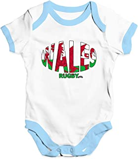 TWISTED ENVY Funny Baby Bodysuits Wales Rugby Ball Flag
