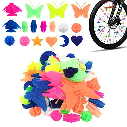 CKANDAY 133 Stück Fahrradrad Speichen Perlen, Bunte Fahrraddekoration Speichen Kunststoff Clip runde Dekor Perlen für Kinder, Formen