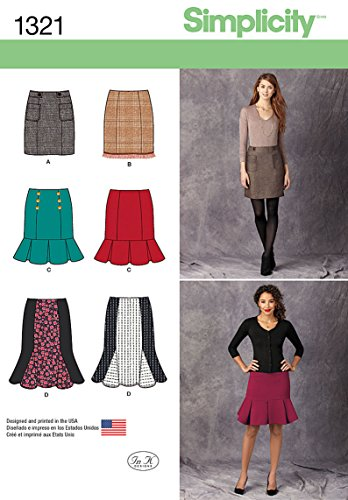 Simplicity Creative Patterns 1321 Misses' Pencil, Flounce and Flared Skirts Sewing Patterns, Size D5 (4-6-8-10-12)