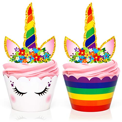 Rainbow Unicorn Cupcake Toppers and Wrappers - Girls Birthday Party Supplies and Baby Shower, Rainbow Unicorn Cake Decoration - Double Sided - Set of 24