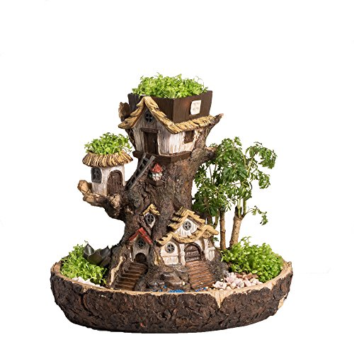 NCYP Forest Fairy Garden Miniature Stump Sweet House Resin Planter for Succulents Cactus DIY Modern Gardening Treehouse Sculpture Multilayer Decorative Flower Pot No Plants