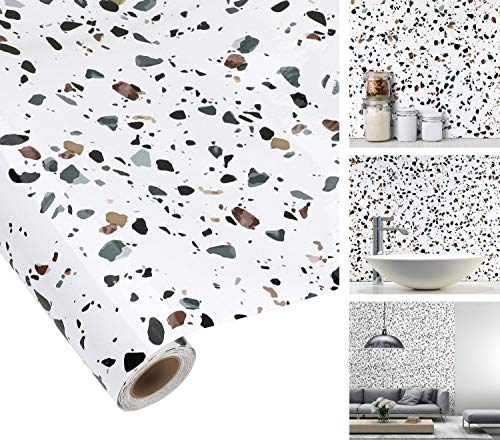 iKINLO Mosaikfliese Klebefolie Fliesen Selbstklebende Tapete Fliesenaufkleber 61x500cm Küchenrückwand Folie PVC Fliesensticker Dekofolie für Bad und Küche Fliesenfolie Kacheldekor
