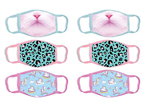'ABG Accessories Girls' Reusable Protective Fashion Face Masks (6 Pack), Cat/Unicorn, Size Age 4-14'