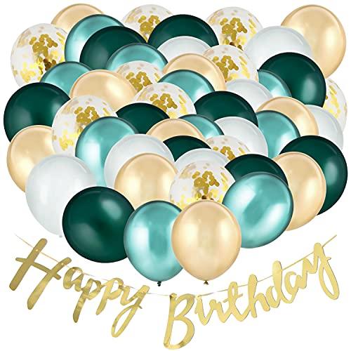 """Balloono 60 Stück Luftballons Geburtstag Set ● Grün Weiß Gold mit """"Happy Birthday"""" Banner ● Ballons als Party Deko ● Geburtstagsdeko Grün ● Ballons Geburtstag"""