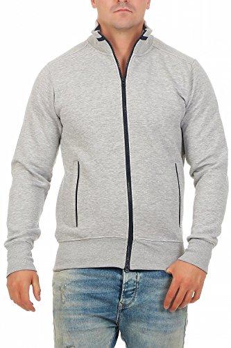 Happy Clothing Herren Sweatjacke sportlich ohne Kapuze - gestreifte Trainingsjacke - Sweatshirtjacke - Zip-Jacke Reißverschluss mit Kragen, Größe:XL, Farbe:Grau meliert