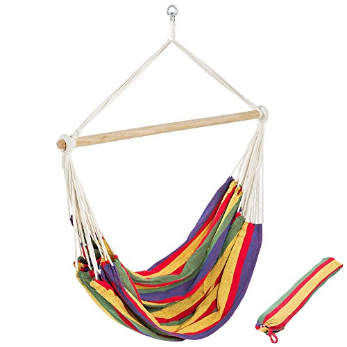 TecTake XXL Chaise hamac de Jardin Double - LXL: 185 x 125 cm - Charge Maxi: 150 kg - INCL. Sac de Transport - Multicolore -