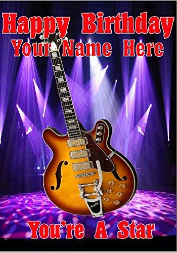 Semi-Akustische Gitarre codecptmi1personalisierbar Grußkarte geschrieben von uns Geschenke für alle 2016von Derbyshire UK