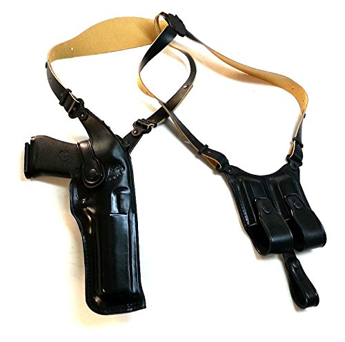 Premium Leather Vertical Shoulder Holster fits, Desert Eagle FITS All CALIBERS with 6'' Inch Barrel, Right Hand Draw, Black Color #1089#