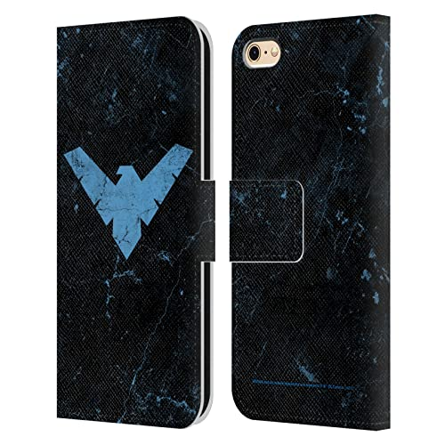 Head Case Designs Licenza Ufficiale Batman DC Comics Logo Grunge Nightwing Cover in Pelle a Portagoglio Compatibile con Apple iPhone 6 / iPhone 6s