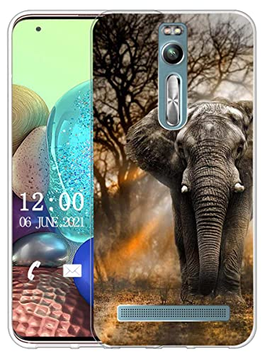 Sunrive Kompatibel mit Asus Zenfone 2 ZE551ML Hülle Silikon, Transparent Handyhülle Schutzhülle Etui Hülle (X Elefant)+Gratis Universal Eingabestift MEHRWEG