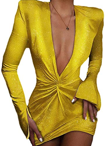 Women's Dress European and American V-Neck Sequins Fashion Solid Color Sexy,Golden,XX-Large