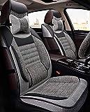 Airbag compatibles cubiertas del asiento del sistema completo del coche, fundas for asientos de lino todo-en-uno desmontable Universal Fit con la cubierta del volante apoyo for la cabeza, adecuados fo
