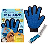 True Touch Five Finger Deshedding Glove- Premium Version, Gentle Grooming, Great Cats & Dog, Long or Short Fur- Includes 1 Authentic Right Hand True Touch & 1 Lint Roller