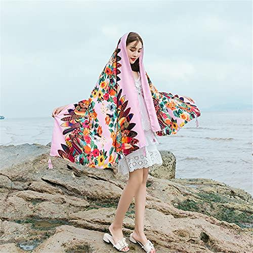 RZHIXR Bufanda De Playa De Protección Solar con Estampado Étnico De Moda, Bufanda De Seda De Mantón Suave Y Fino para Damas (90X180Cm)