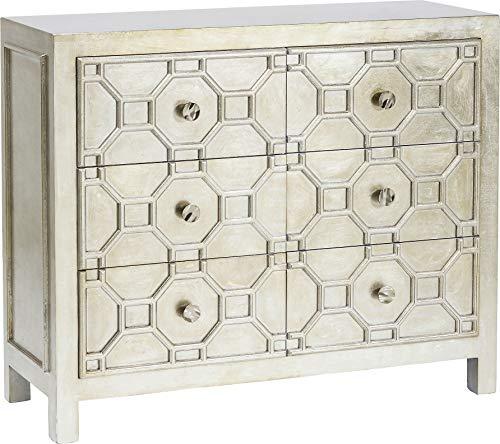 Kare Design Kommode Alhambra, TV Lowboard mit 6 Schubladen, Wohnzimmer Sideboard Silber (H/B/T) 61x124x38cm