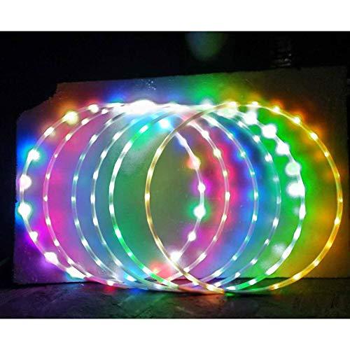 Hankyky LED Glow Sport Hoop for Adults Kids Multicolor Dancing Hoop Loose Weight Bodybuilding Fitness Hoops Toy Multiple Light Up Sports Hoops