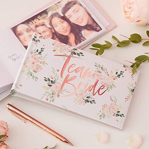 Gäste-Buch Foto-Album Team Bride Rosé-Gold Kupfer mit Blumen-Motiv - Gäste-Buch...