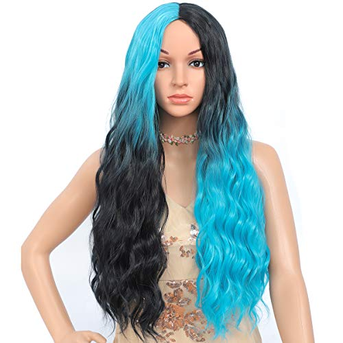 Amchoice Ombre Black Light Blue Wig for Women Long Curly Wavy Wig Cute Fashion Heat Resistant Synthetic Hair Wigs for Daily Party Cosplay Halloween 26 Inch