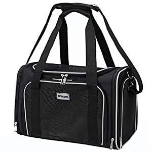 SERCOVE Travel Cat Carriers Airline Approved Pet Carrier Soft Sided Collapsible Breathable Small Dog Carrier Bag for 20Lbs Kitten Puppy Medium Dogs (Large, Black)