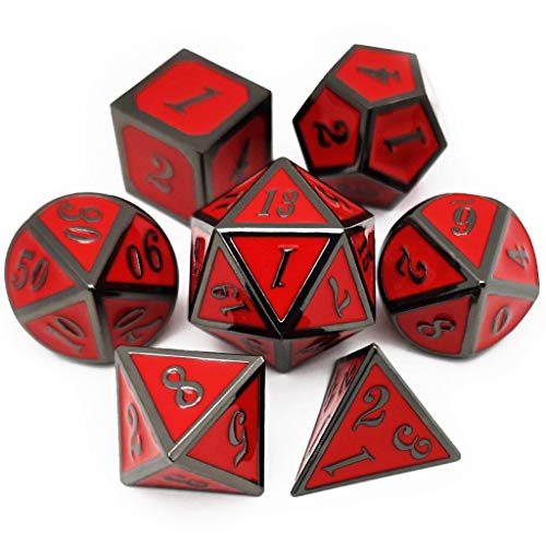 Haxtec 7 Die Metal Dice Set D&D 7PCS DND Dice of D20 D12 D10 D8 D6 D4 for Dungeons and Dragons RPG Games-Glossy Enamel Dice (Black Red)