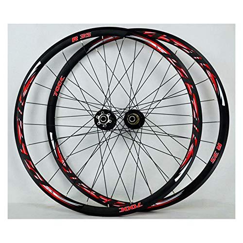 ZFF 700C Bici da Corsa Set di Ruote Ciclocross Doppio Muro Cerchio 30mm Lega Ruote Disco V/C Freno Rilascio Rapido 7/8/9/10/11 velocità 24 Fori (Color : Red)