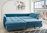 lifestyle4living Ecksofa mit Schlaffunktion | Eckcouch Eckgarnitur Polsterecke L Couch Sofa L Form | Wohnlandschaft inkl. Rückenkissen und Zierkissen | Stoff Blau - 4