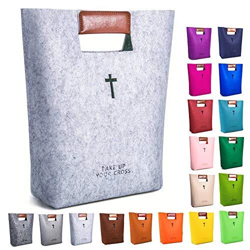 AGAPASS Bible Bag Bible Carrying Case Felt Bible Tote Church Bag Hollowed Cross Design Bible Covers Felt Bible Carrying Tote for Women Men Bible Study Case Christian Gift