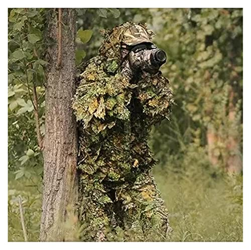 JINSUOZY DXXLD Jagdanzug 3D Ahornblatt Bionic Anzug Sniper Pistole Tarnjacke und Hosen (Color : Tree, Size : One Size)
