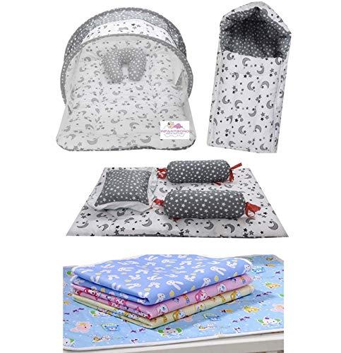 Infantbond Combo of Baby Mattress with Net   Sleeping Bag   4 Pcs Bedding Set   4 Waterproof Sheets(0-6 Months) (Moon Grey)
