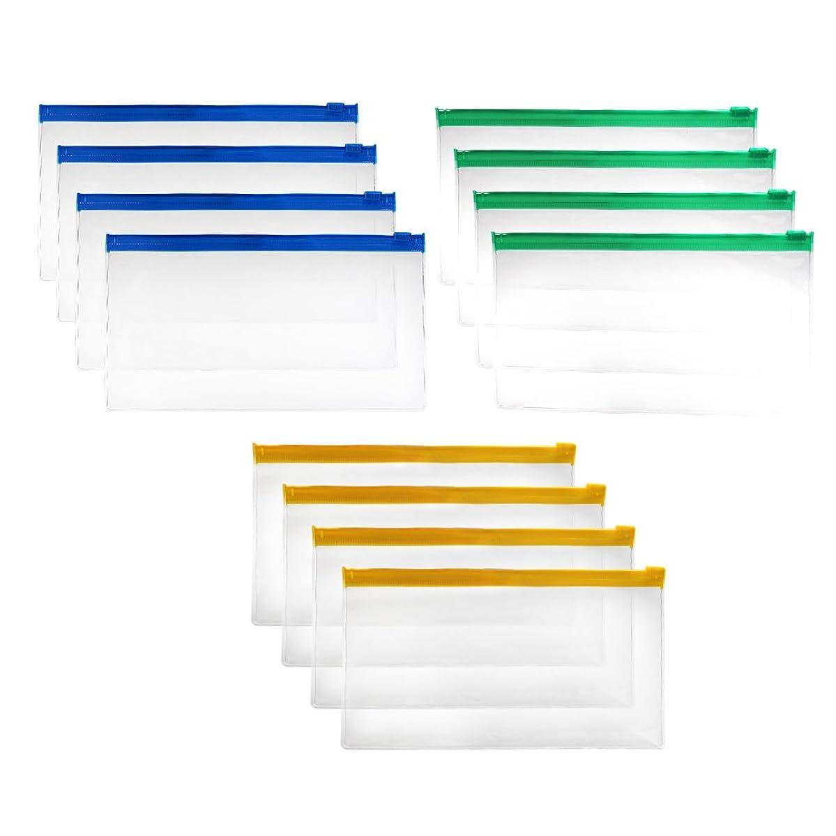 Md trade 12pcs 7-1/2 x 4 inches Clear Color Waterproof PVC Plastic Soft Zipper Invoice pouches Bill Bag Pencil Pouch Pen Bag (Random Color)