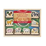 Melissa & Doug My First Wooden Stamp Set-Farm Animals Mes Premiers tampons Ferme, 12390, Multicolore