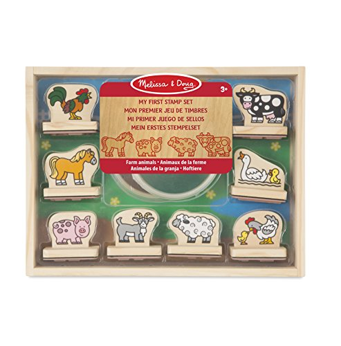 Melissa & Doug- My First Wooden Stamp Set Timbri in Legno, Multicolore, 2390