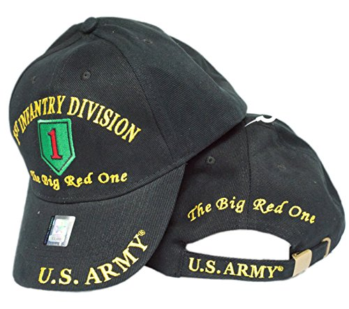 EE U.S. ARMY 1ST INFANTRY DIVISION THE BIG RED ONE Direct Embroidered Hat - Color - Veteran Owned Business, Black