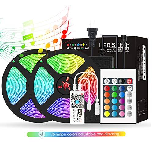 DLMPT Striscia LED 5M/10M 300 LEDs Strisce LED RGB 5050 con Telecomando 4 modalità, Impermeabile Alimentata LED Striscia per Decorazioni, Cucina, Festa, Natale, Bar,Waterproof,5M