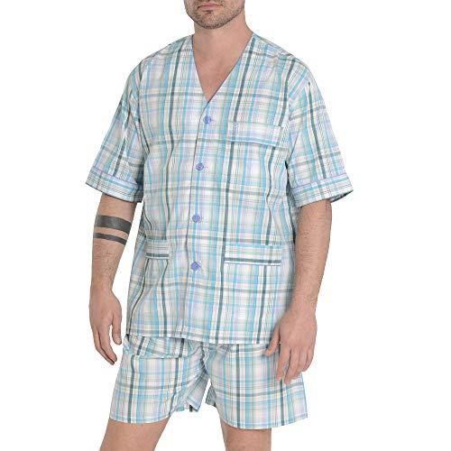 El Búho Nocturno - Herren Karierter Zweiteiliger Pyjama mit kurzen Ärmeln | Klassische Nachtwäsche für Männer- Popelinestoff, 100% Baumwolle - Größe 4XL - Aquamarin