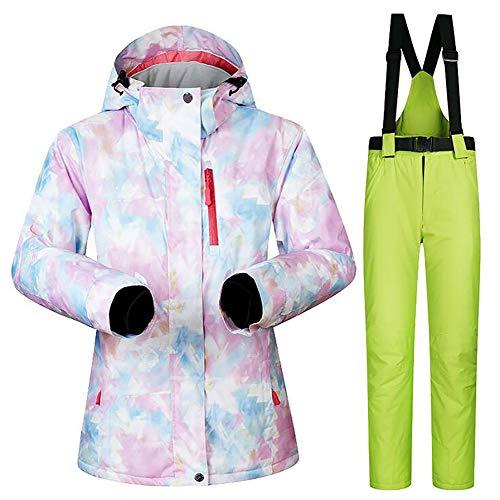 SHANGXIAN Extérieur Femmes Combinaison de Ski Imperméable Coupe-Vent Snowboard Ensemble Veste et Pantalon de Ski,B,XL