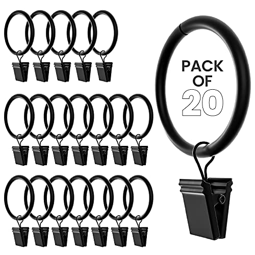 Curtain Rings with Clips 1.5 Inch Set of 20 Heavy Duty Curtain Hooks for Drapes, Caps, Pictures - Rustproof & Decorative Black Curtain Rings for Bathroom, Living and Guest Room