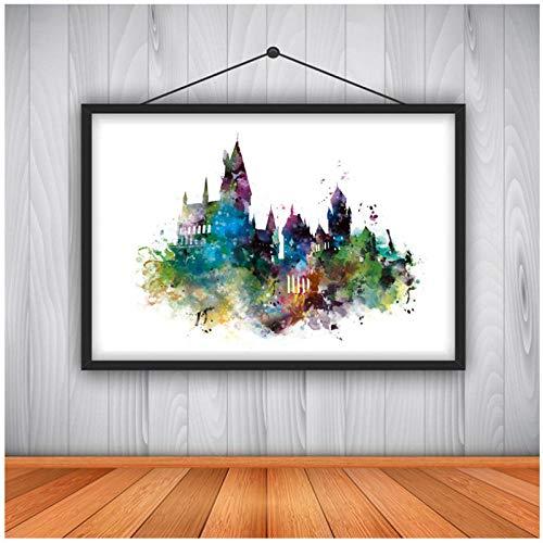 Dayanzai Watercolor Hogwarts Castle Art Canvas Painting Wall Picture , Movie Canvas Prints Kids Room Decor 50X70Cm No Frame