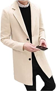 Mogogo Mens Mid-Long Single-Breasted Stylish Wool Blend Trench Coat Jacket