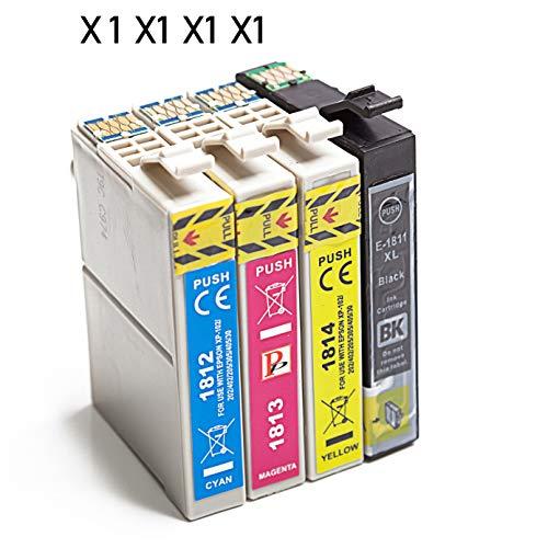 Cartucho de tinta de repuesto para Epson 18XL de alta capacidad compatible con Epson Expression Home XP-202 XP-305 XP-415 XP-412 XP-215 XP-312 XP-212 XP-102 (1 negro, 1 cian, 1 magenta y 1 amarillo)