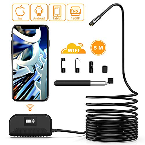 Lightswim Boroscopio inalámbrico, 8 mm 1200P HD Cámara de inspección de endoscopio WiFi con Zoom,Tubo de Serpiente semirrígido Impermeable IP68 para Tableta de teléfono Inteligente Android/iOS
