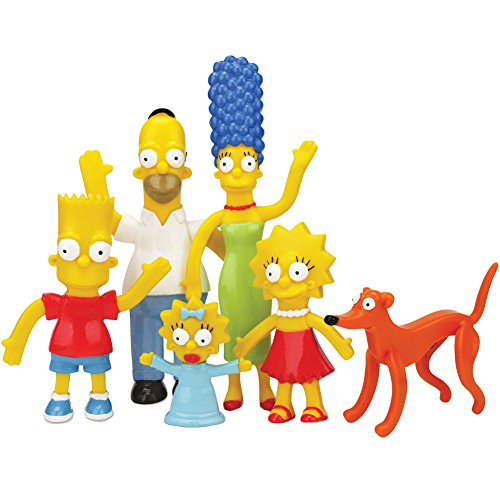 NJ Croce - Toys Simpsons Family Bendable Figures Set - Bart, Homer, Marge, Lisa, Maggie +